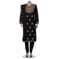 Aarong Black Erri Embroidered Endi Silk Shalwar Kameez Set