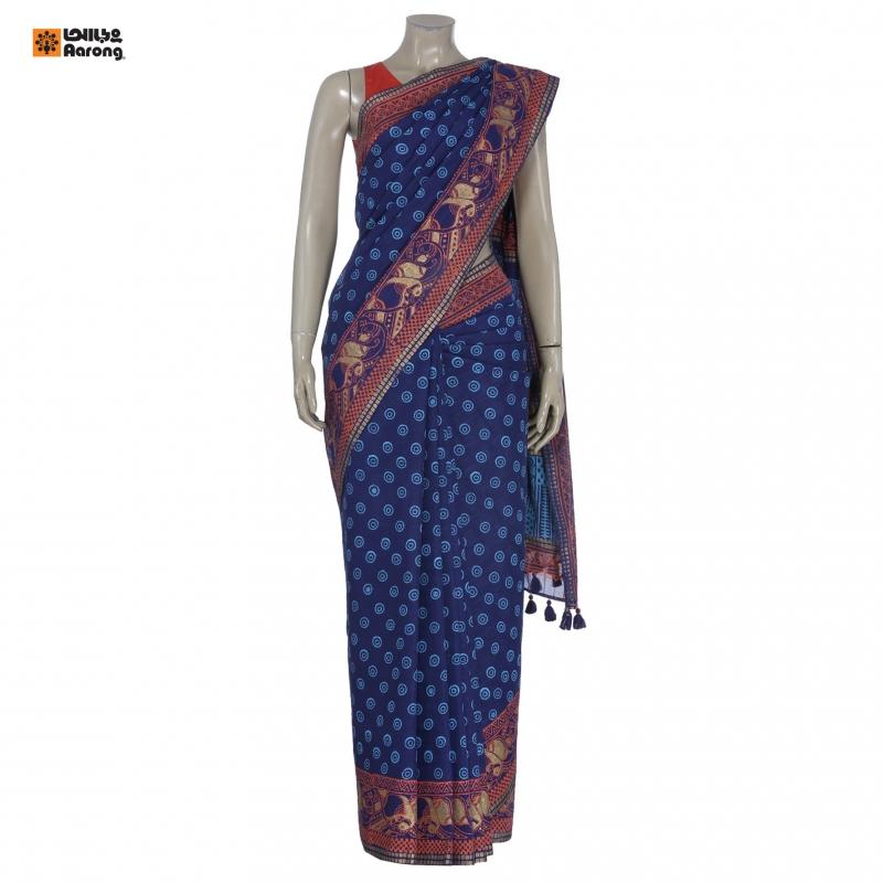 Aarong Blue and Orange Printed Cotton Saree