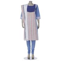 Aarong Blue Embroidered Striped Hand Loomed Cotton Shalwar Kameez Set