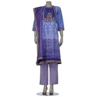 Aarong Blue Shibori Dyed and Erri Embroidered Mixed Silk Shalwar Kameez