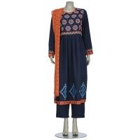 Aarong Deep Blue Printed and Embroidered Cashmilon Shalwar Kameez
