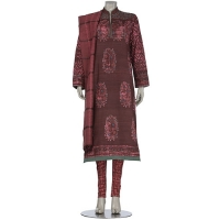 Aarong Deep Brown and Pink Wax Dyed and Embroidered Endi Silk Shalwar Kameez