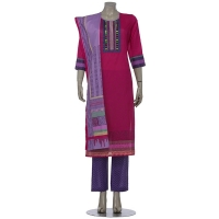Aarong Deep Fuchsia and Purple Printed and Embroidered Voile Shalwar Kameez Set