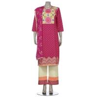 Aarong Deep Fuchsia Printed and Embroidered Cashmilon Shalwar Kameez Set