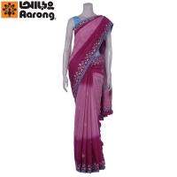 Aarong Fuchsia Tie-Dye and Nakshi Kantha Endi Silk Saree