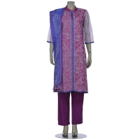 Aarong Lavender and Mauve Printed and Embroidered Muslin Shalwar Kameez Set