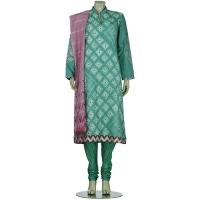Aarong Mint Green Shibori Dyed and Printed Silk Shalwar Kameez