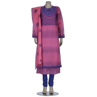 Aarong Pink and Blue Embroidered Mixed Muslin Shalwar Kameez