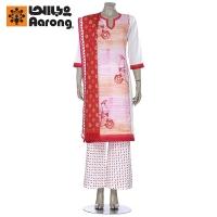 Aarong Pink and Orange Hand Painted Cotton Shalwar Kameez Set