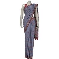 Aarong Stone Blue Nakshi Kantha Embroidered Silk Saree