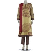 Aarong  Tk 4,590.48 Light Yellow Printed and Embroidered Cashmilon Shalwar Kameez