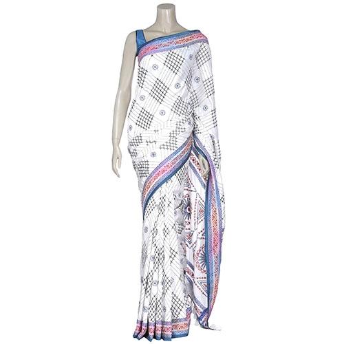 Aarong White and Black Nakshi Kantha Embroidered Silk Saree