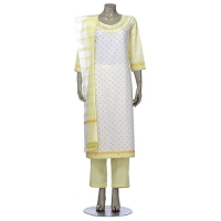 Aarong White Printed and Embroidered Hand Loomed Cotton Shalwar Kameez Set