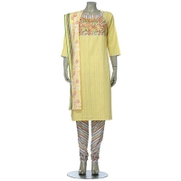 Aarong Yellow and Pink Embroidered Cotton Shalwar Kameez