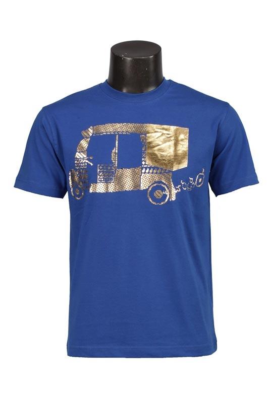 Deep Blue Cotton Printed Mens T-shirt