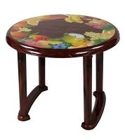 DPL Table 4 Seated Ro Plas Printed Rose Wood 86249
