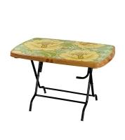 DPL Table 4 Seated Sq St/Leg Printed Sandal Wood 86265