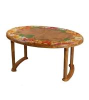 DPL Table 6 Seated Oval Plus Printed Sandal Wood 86252