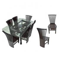 Nurjahan Furniture Canadian Processed Wood Peacock Design Dinning Set DI 126