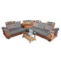Nurjahan Furniture Corner Design Wooden Sofa Set  SA-342