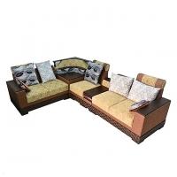 Nurjahan Furniture  Corner Design Wooden Sofa Set SA-402